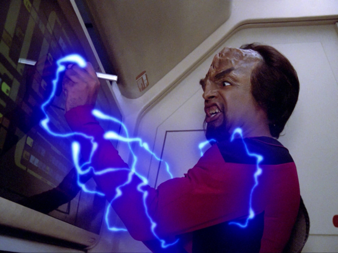 Worf has an accident with the Enterprise's Van de Graff machine