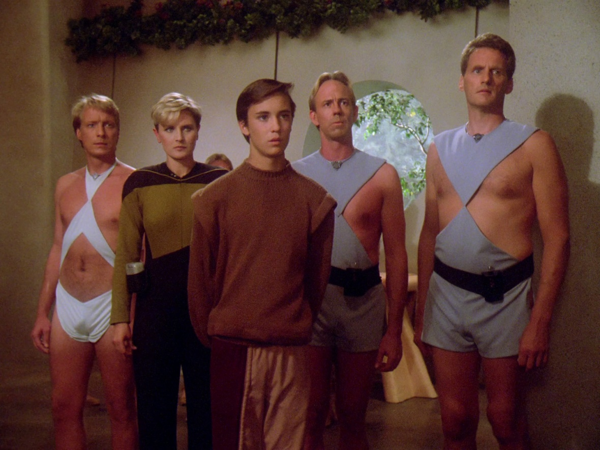 Everyone is shocked when Picard arrives wearing casual attire
