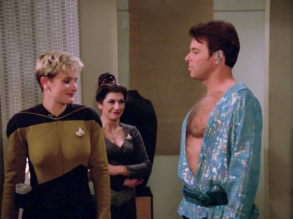 Riker shows off the proposed Season 2 uniforms
