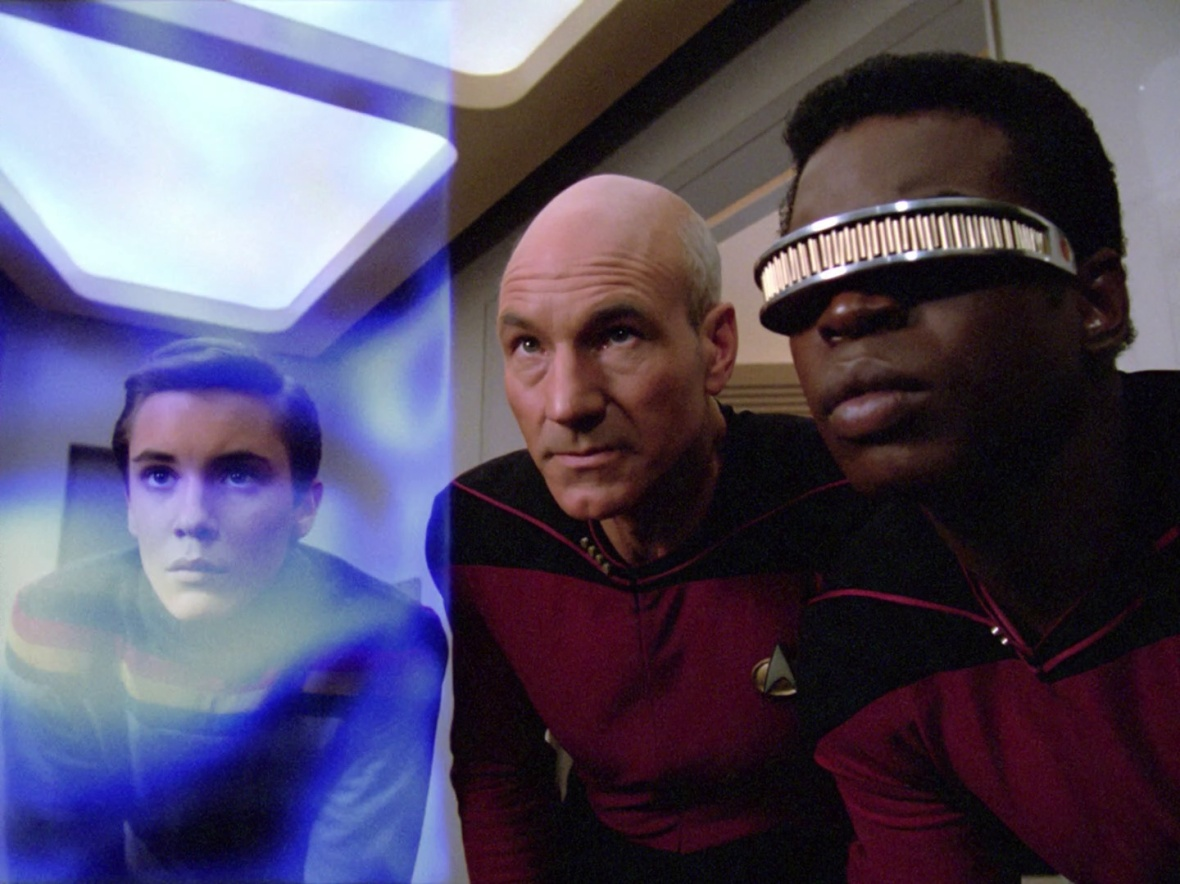 Picard wonders if he should have had the ceiling heightened in sickbay, instead of soundproofing Wesley.