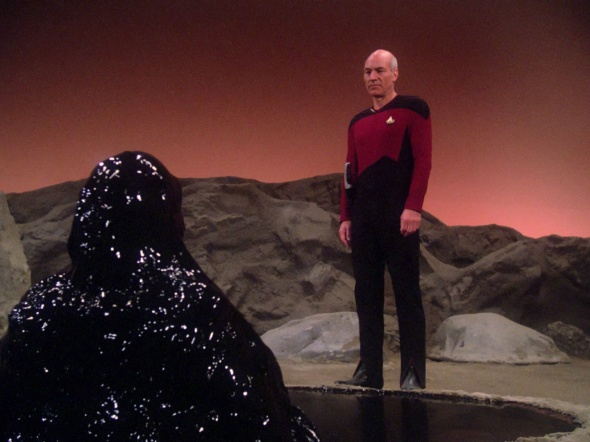 Picard wonders how they'll ever get Armus out of the carpet