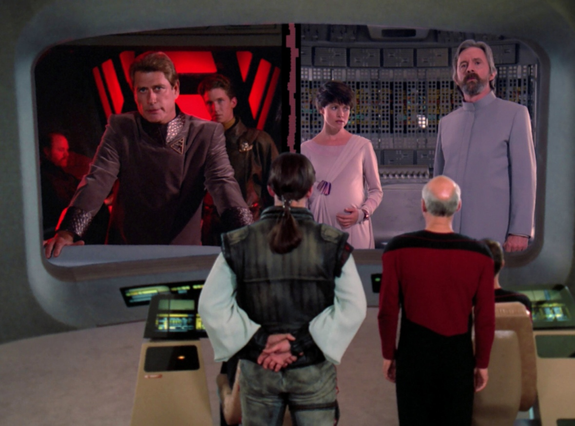 Picard tries to convince his video conference delegates  to unmute their microphones