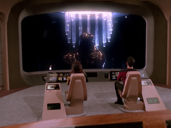 Another day on the Enterprise; another of Worf's terrible backlit selfies on the  viewscreen.